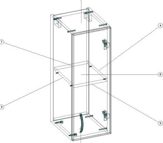 Навесной кухонный шкаф 260 х 320 х 720 - чертеж