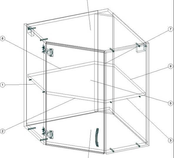 Угловой кухонный верхний шкафчик 600 х 600 х 720 - чертеж