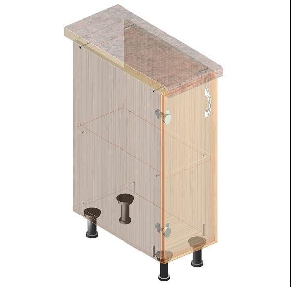 Кухонный нижний модуль 260 х 600 х 820 - экскиз