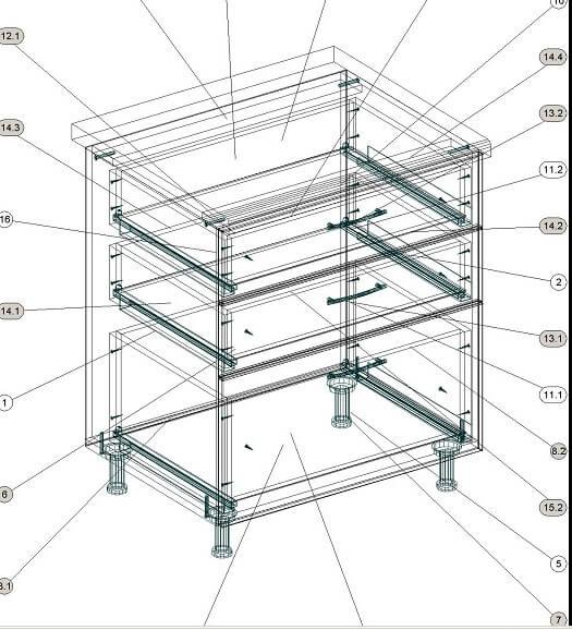 Кухонный нижний модуль с выдвижными ящиками 700 х 600 х 860 - эскиз
