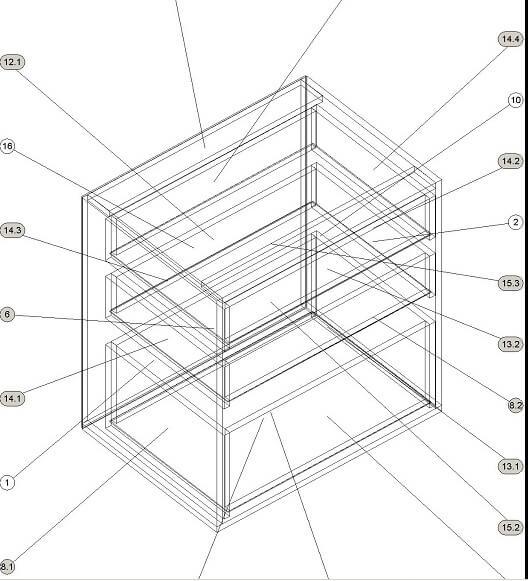 Кухонный нижний модуль с выдвижными ящиками 700 х 600 х 860 - чертеж