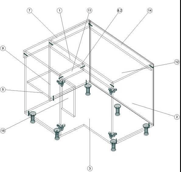Кухонный нижний угловой модуль 860 х 940 х 860 - чертеж