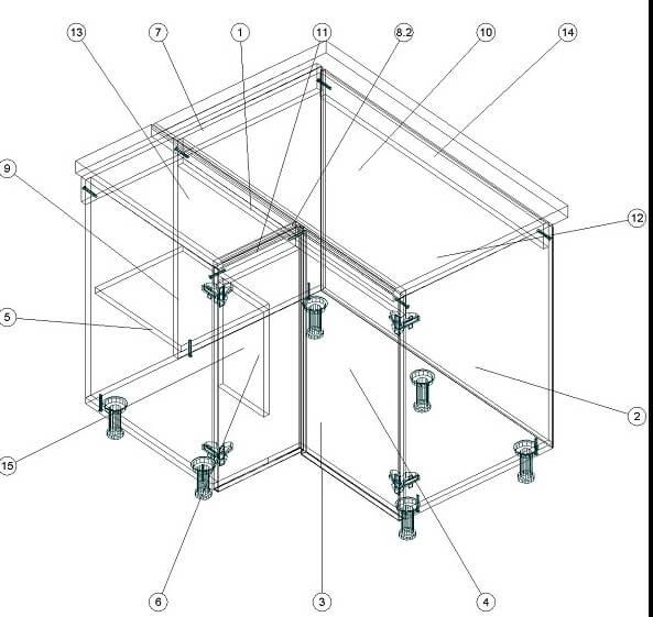 Кухонный нижний угловой модуль 860 х 940 х 860 - эскиз