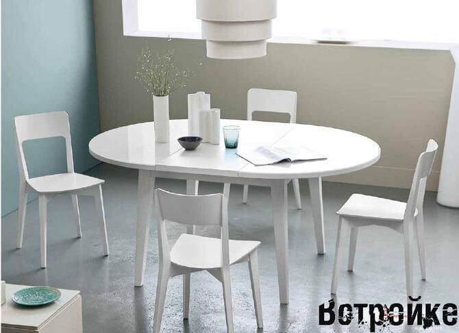 круглый белый стол на кухню