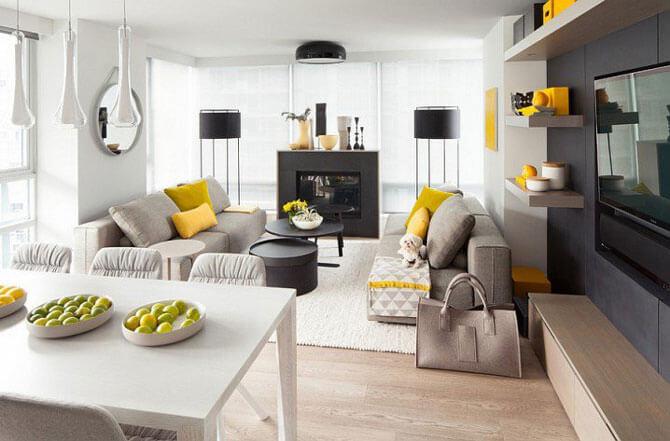 дизайн гостиной в серо-желтых тонах