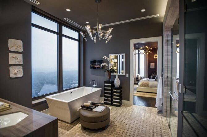 Дизайн ванной комнаты в сером цвете