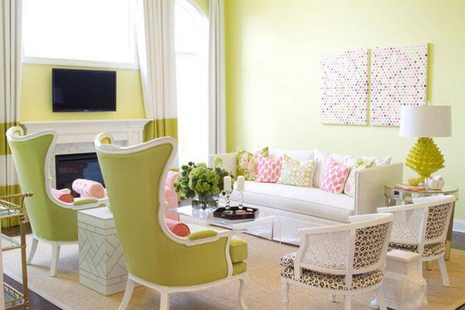 гостиная в зелено бежевых тонах