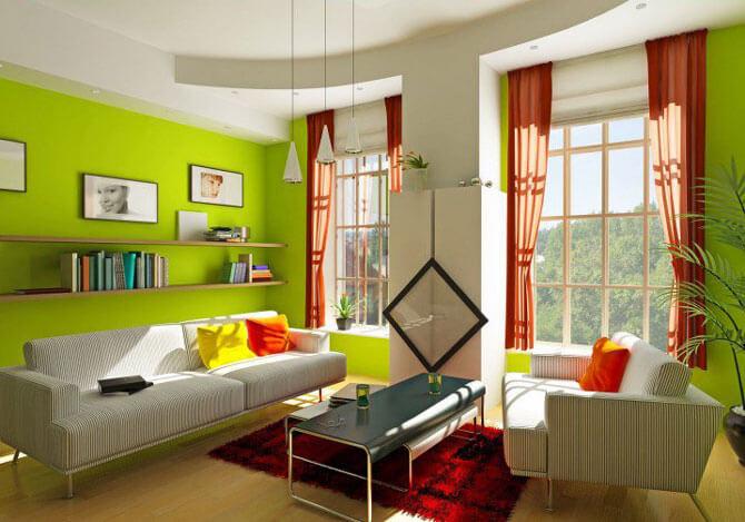 гостиная с зелеными обоями фото