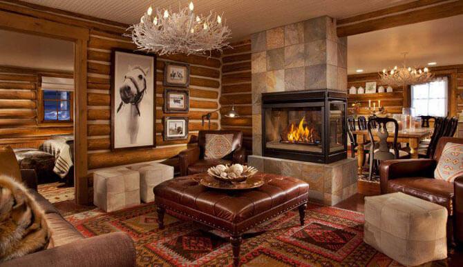 стенки из дерева в гостиную