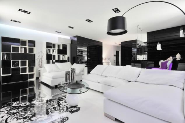фото черно белой гостиной