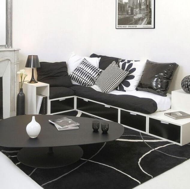 дизайн черно белой гостиной фото