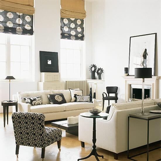 бело черная гостиная фото