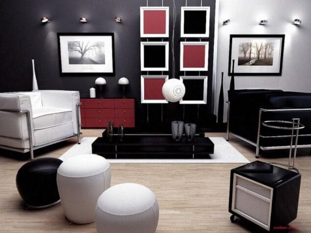 черно белая гостиная дизайн
