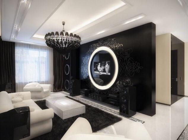 гостиная в черно белых тонах