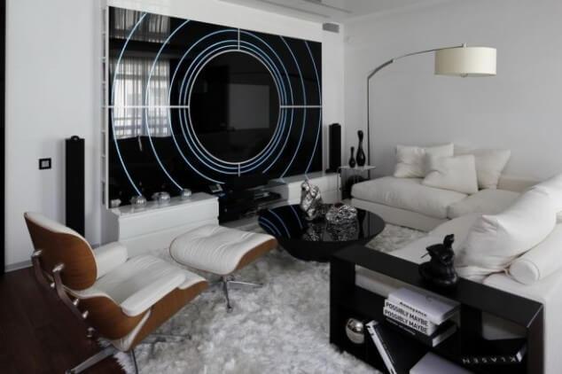 черно белая гостиная интерьер