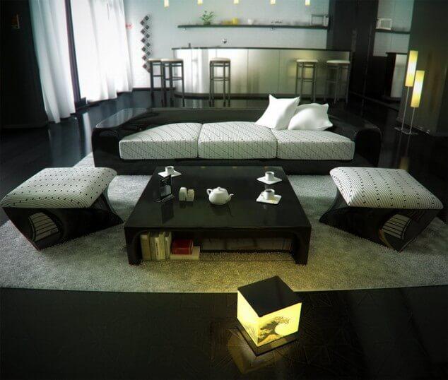 черно белая гостиная дизайн фото
