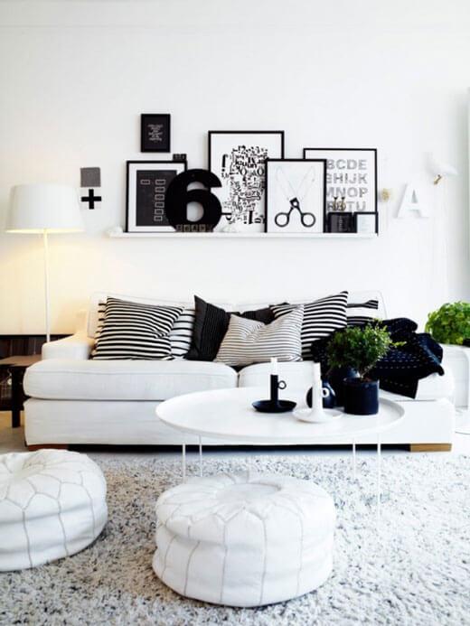 черно белый дизайн гостиной