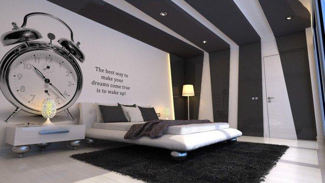 интерьер серой спальни