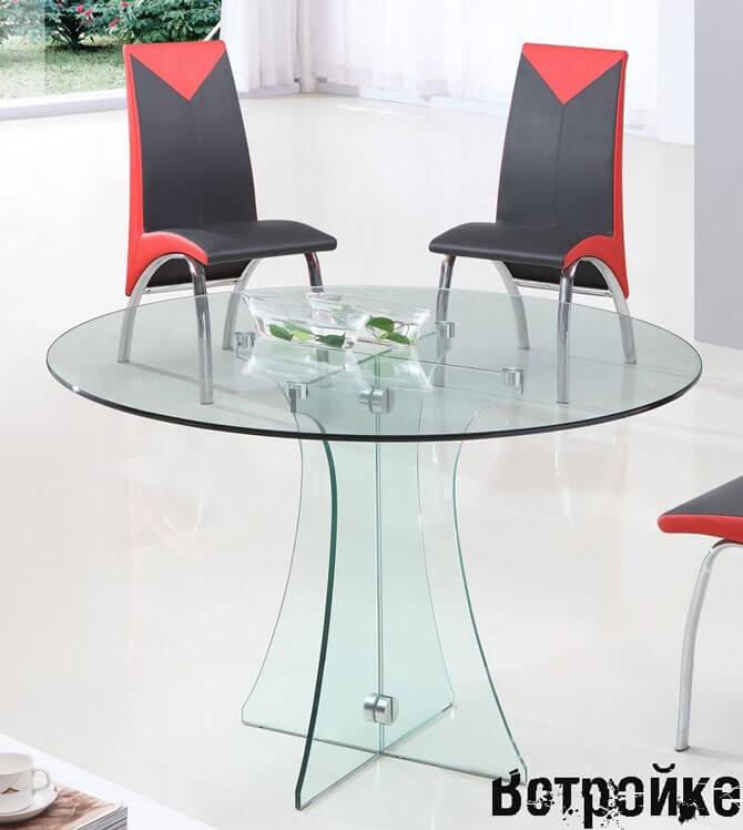 Круглый стол из стекла для кухни