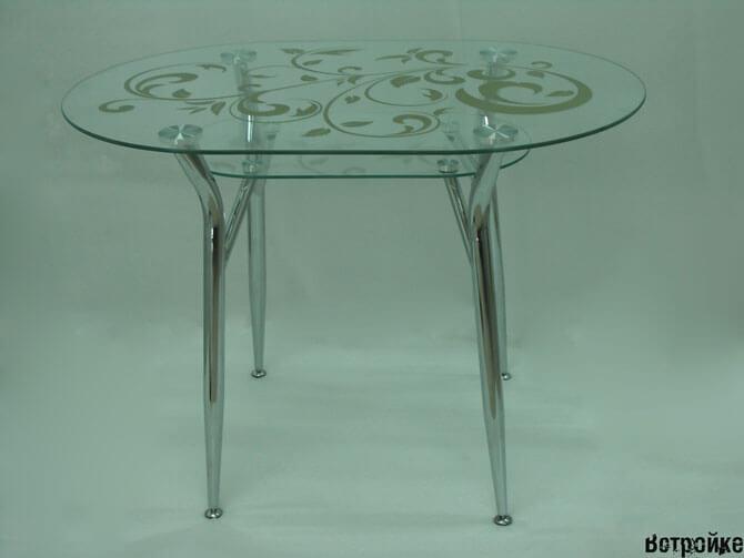 Круглый стеклянный стол для кухни фото
