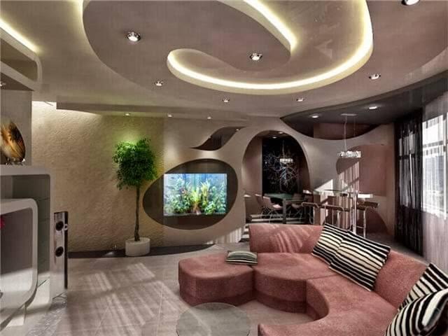 потолок гостиная фото