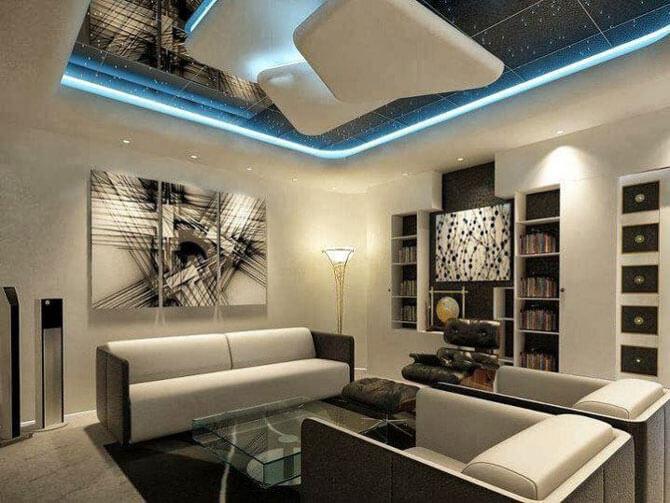 Фото дизайн потолков в гостиной