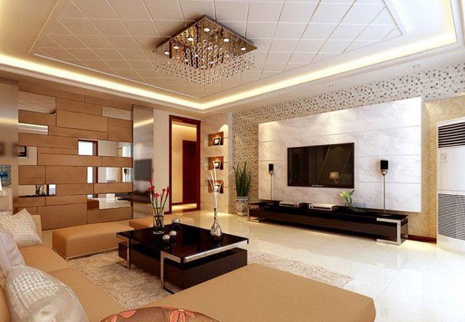 навесные потолки для гостиной фото