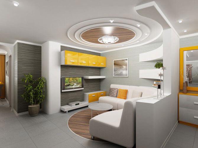красивый потолок в гостиной фото