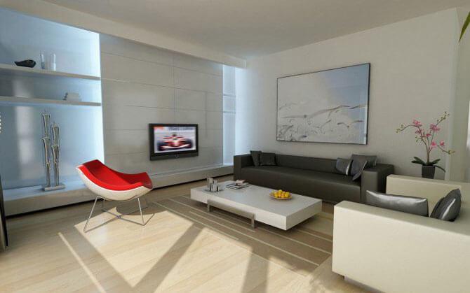 стиль минимализм в интерьере гостиной