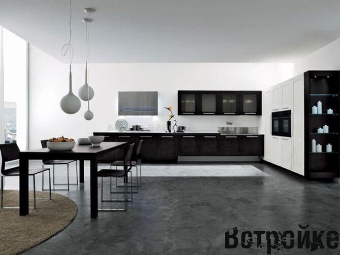 Встроенная мебель для большой кухни
