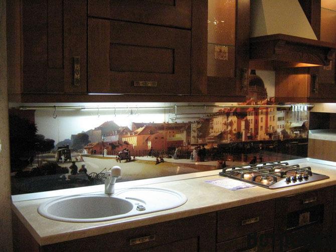 Фартуки для кухни из стекла с фотопечатью