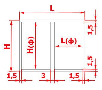 Схема расчета зазоров для короба с двумя фасадами