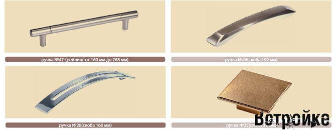 Ручки для фасадов кухни