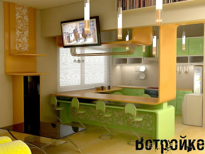 Кухня со столом стойкой