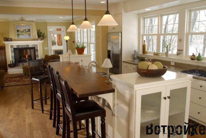 Стол стойка на кухне