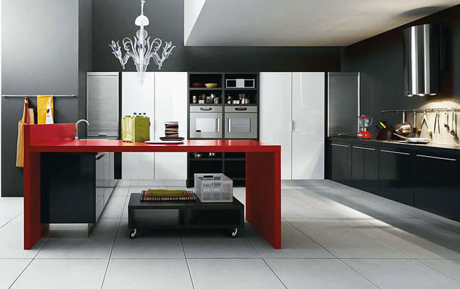 В кухне, в стиле минимализм, нет ничего лишнего