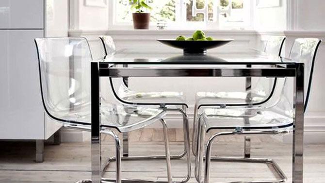 прозрачные стулья для кухни фото