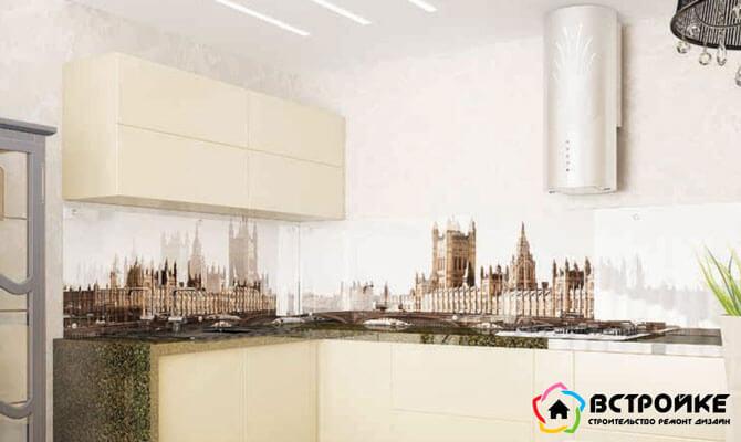 Стеклянные панели в интерьере кухни