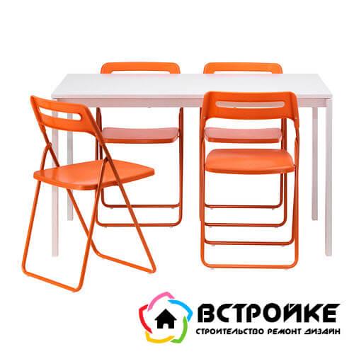 МЕЛЬТОРП / НИССЕ Стол и 4 стула, белый, оранжевый