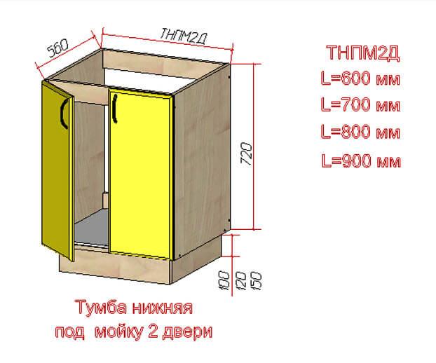 Прямая тумба под мойку на 2 двери
