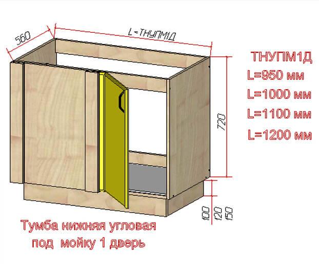 Тумба нижняя угловая под мойку 1 дверь