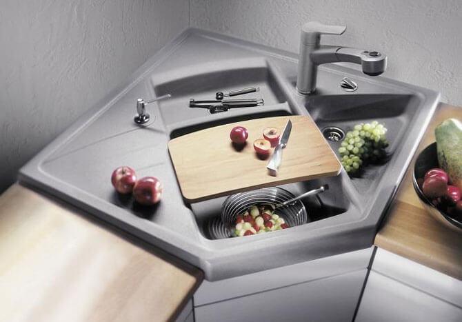 Угловая накладная мойка для кухни