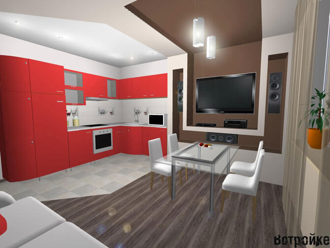 Кухня-гостиная 15 кв. м.