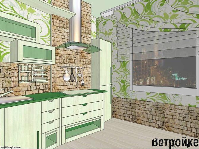 Отделка стен кухни 15 кв м