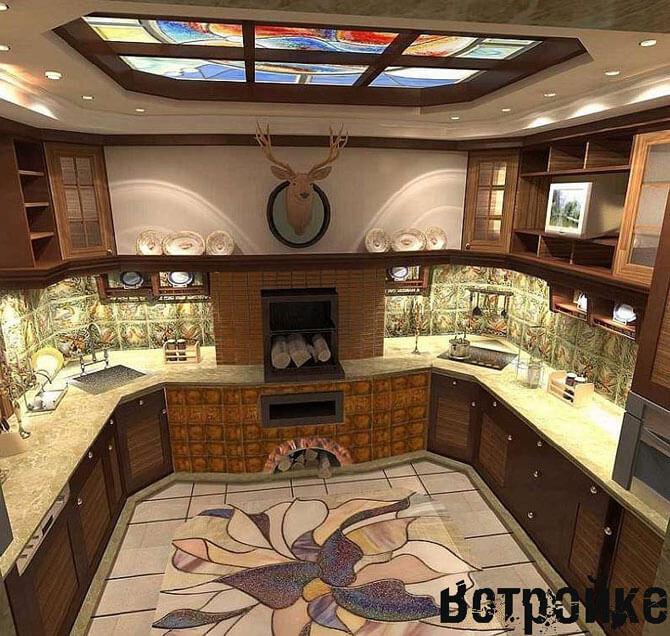 Многоуровневый потолок кухни 15 кв. м.