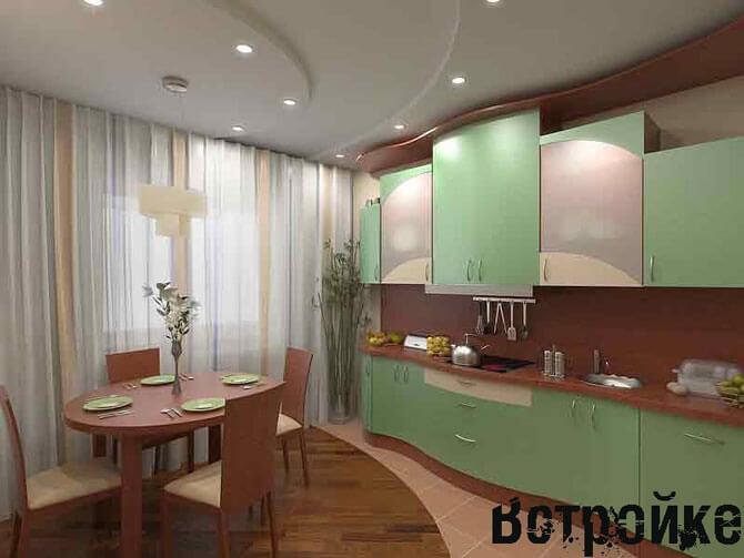 Комбинированный пол на кухне 15 кв м