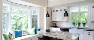Кухня с двумя окнами