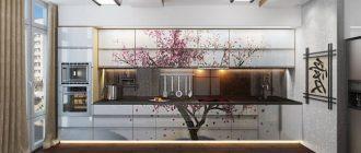 кухня в японском стиле сакура