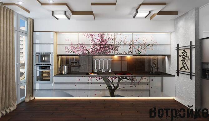 Кухня в японском стиле с изображением сакуры