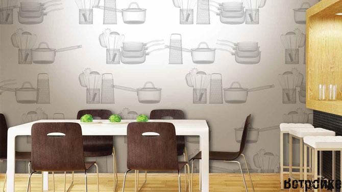 Кухонные обои с рисунком